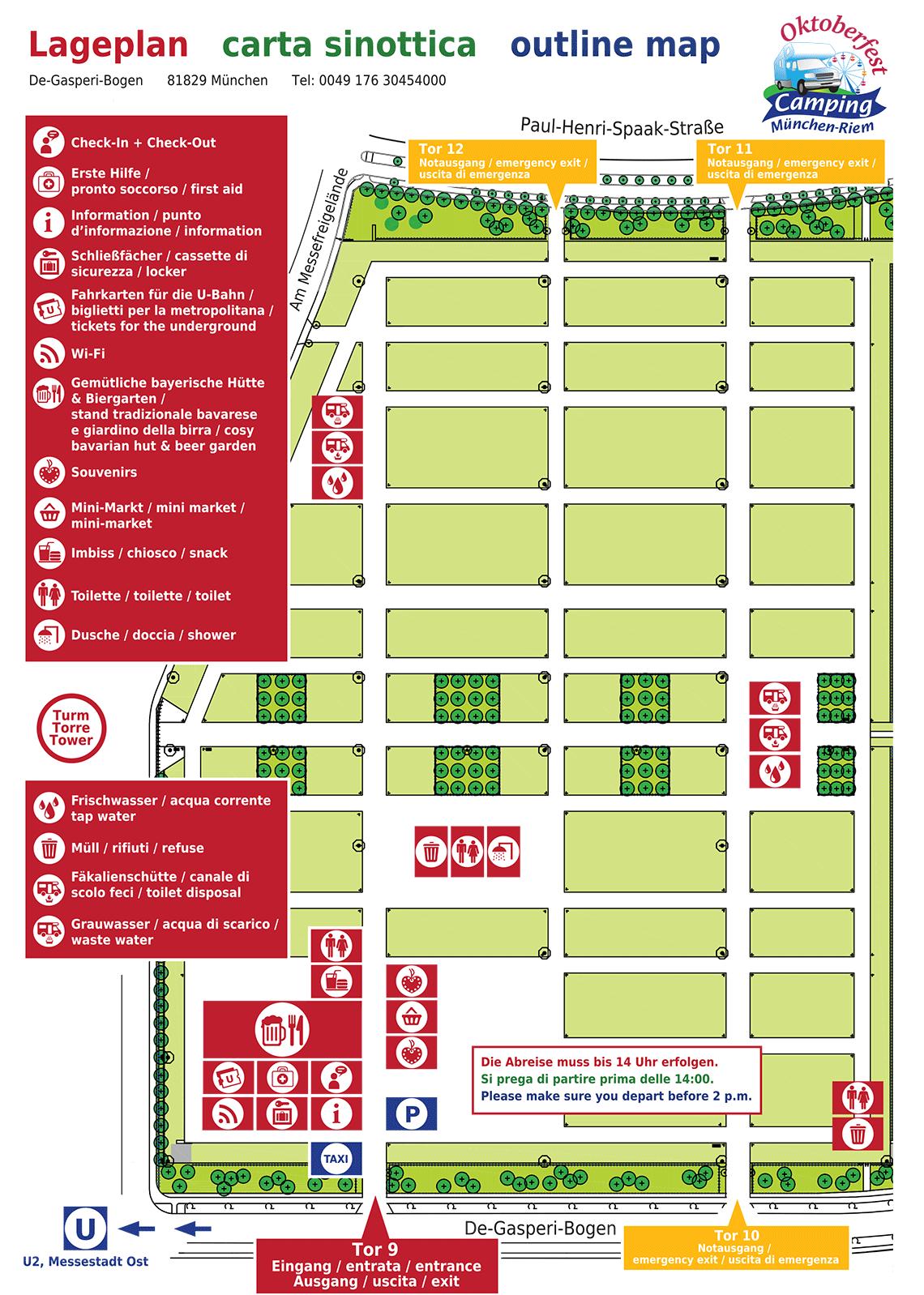 Lageplan Oktoberfest-Camping München-Riem