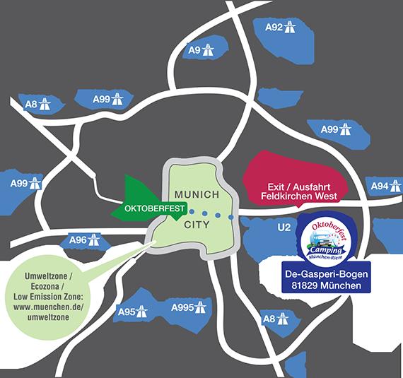 Anfahrtsplan Oktoberfest-Camping München-Riem
